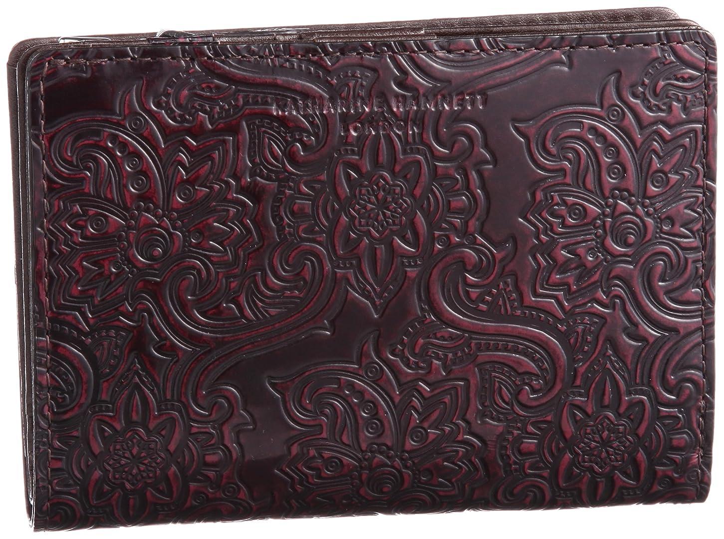 ディスコティーンエイジャー企業[キャサリンハムネットロンドン] KATHARINE HAMNETT LONDON 財布 ペイズリー柄レザー Lファスナーミドルサイズ二つ折り財布
