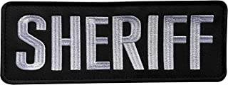 uuKen Large Embroidery Cloth Fabric Sheriff Patch Black and White for Law Enforcement Police Tactical Vest Jacket Uniform Plate Carrier Back Panel (Black and White, Large 8.5