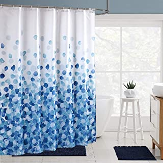 Ufelicity Modern Decor Shower Curtain Standard Size Water Resistant Fabric Bath Curtain Easy Clean, White Background Shower Curtain Machine Washable with Rings for Adults, Blue Petals, 72