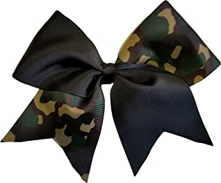 Cheer Bows Black Camo Camouflage Military Support Hair Bow