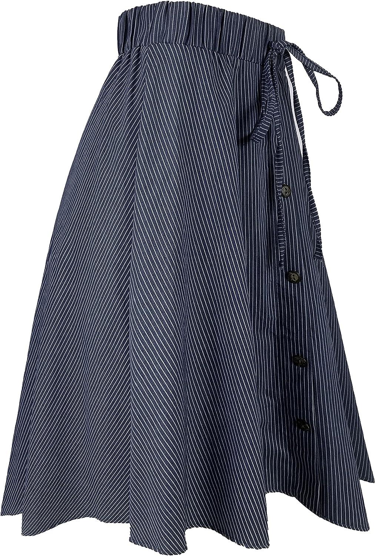 WANG SHUN HONG Women's Denim Striped Button Plus Size Elastic Waist A-line Midi Skirt