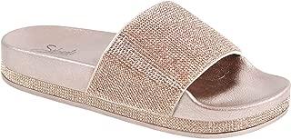 Solemate Women's Rhinestone Glitter Crystal Slide Footbed Platform Sandal Slippers