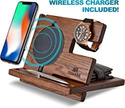 Wood Phone Docking Station Ash Key Holder Wallet Stand Watch Organizer Men Gift Husband Wireless Charging Pad Slim Birthday Nightstand Purse Tablet Compatible with All Qi Devices (Black)