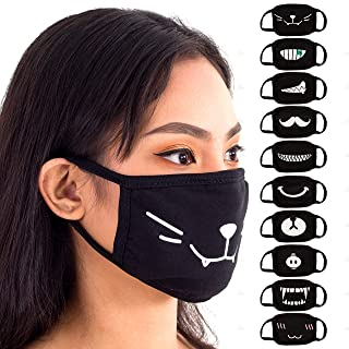 Face Mouth Mask - Cotton Face Covering (10 Pack) - Black Anime Designs