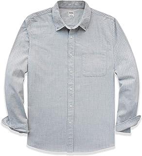 Dubinik® Camisa de franela a cuadros para hombre, ajuste normal, manga larga, para el tiempo libre blanco-gris XL