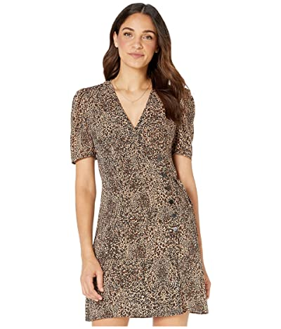 1.STATE Short Sleeve Asymmetrical Button Front Leopard Muse Dress (Caramel Multi) Women