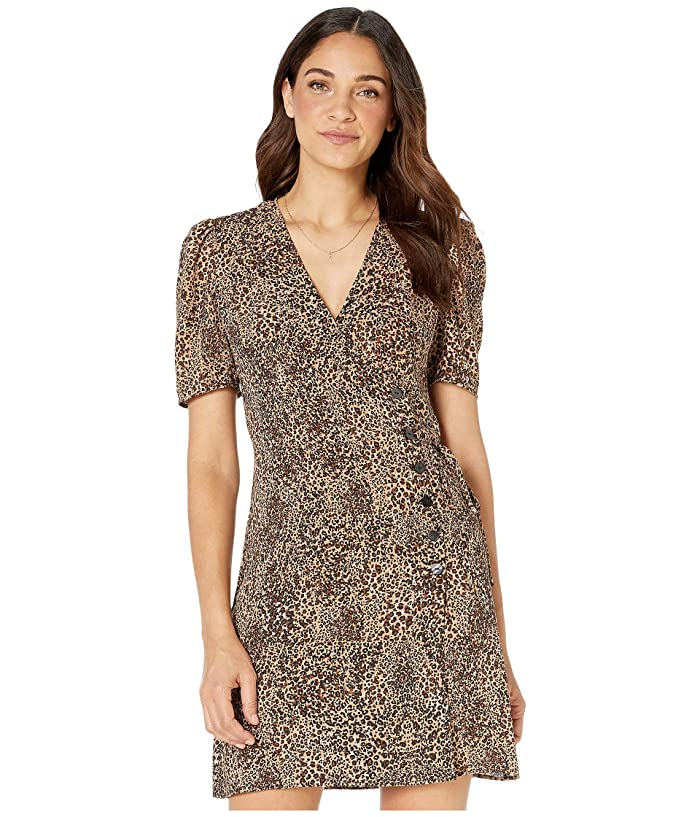 1.STATE  Short Sleeve Asymmetrical Button Front Leopard Muse Dress (Caramel Multi) Womens Dress