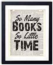 So Many Books So Little Time Typography (#1) Upcycled Vintage Dictionary Art Print 8x10