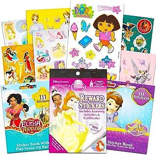 مجموعة ملصقات للفتيات الصغيرات من ديزني - مجموعة ملصقات للبنات مع أكثر من 350 ملصق يضم دورا وصوفيا الأولى وإلينا أوف أفالو...