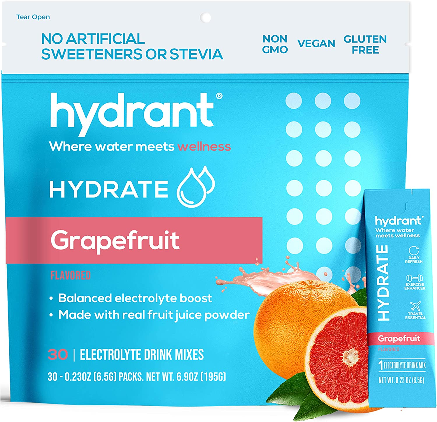 Hydrant Easy-to-use Hydrate Grapefruit 30 Stick Powder Mail order cheap Electrolyte Packs Ra