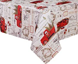 Winter Wonder Lane Vintage Retro Little Old Red Pickup Truck Christmas Tree Farm Design Textured Fabric Tablecloth for Christmas Holiday Season (60 in x 84 in)