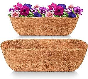 LAVEVE 36 Inches Trough Coco Liner Replacement for Plant Hanging Basket, 1 Pcs 100% Natural Thick Coconut Fiber Liner for Garden Flowers Basket Planter/Window Flower Box/Vegetables Pot