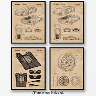 Original Porsche 918 Patent Art Poster Prints, Set of 4 (8x10) Unframed Photos, Great Wall Art Decor Gifts Under 20 for Home, Office, Man Cave, College Student, Teacher, Germany Cars & Coffee Fan