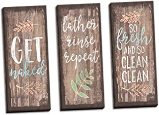 Gango Home Decor Country-Rustic Get Naked, Lather, Rinse, Repeat, So Fresh and So Clean Clean by Misty Michelle (Ready to Hang); Three 8x20in Hand-Stretched Canvases