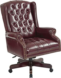 Office Star Thick Padded Vinyl Deluxe Tufted High Back Traditional Executive Chair with Nailhead Accents and Mahogany Fini...