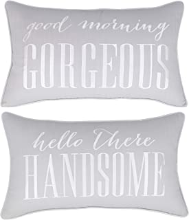 ADecor Pillow Covers Hello Handsome Good Morning Gorgeous Set of 2 pcs Pillowcase Embroidered Pillow Cover Anniversary Decorative Pillow Standard Cushion Cover Gift Love Couple Wedding (12X20, Smoke)