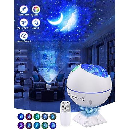 OTTOLIVES Mini LED étoile Projecteur Veilleuse, 120° Rotatif Télécommandées Galaxie D'éclairage Effets Nuage Lampe pour Voiture/Chambre Décoration, Grand Cadeau pour Enfants (Mini Blanc)