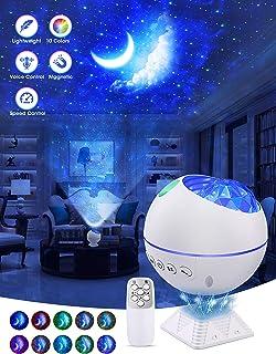 OTTOLIVES Mini LED étoile Projecteur Veilleuse, 120° Rotatif Télécommandées Galaxie D'éclairage Effets Nuage Lampe pour Vo...