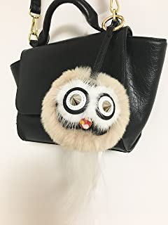 Black Owl with tail Fur Halloween Monster Bugs Pom Pom Plush Doll Key Ring/ Keychain /Bag Charm (Apricot)