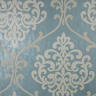 Kenneth James 2542-20715 Ambrosia Teal Glitter Damask Wallpaper, Teal