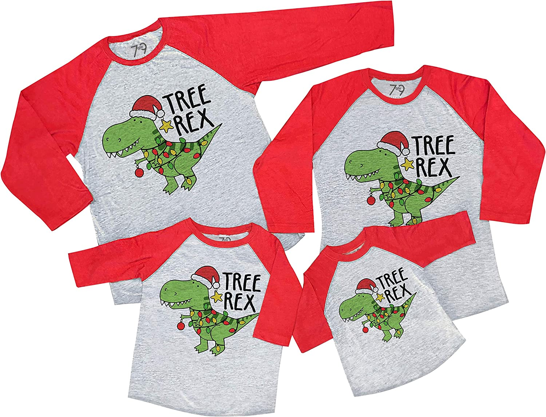 7 ate 9 Apparel Matching Family Christmas Shirts - Tree Rex Dinosaur Red Shirt