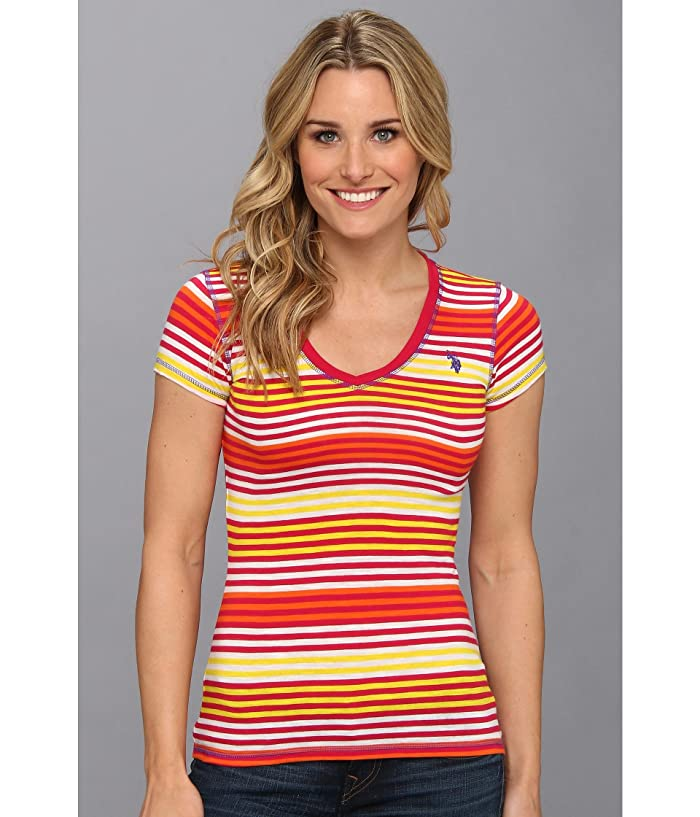 U.S. POLO ASSN. Cotton Slub Short Sleeve Multi Stripe V-Neck T-Shirt