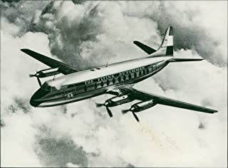 Vintage photo of A Viscount prop-jet airliner, first British plane ever ordered by KLM (Royal Dutch Airlines), wears the KLM colours and the name39;The Flying Dutchman39.