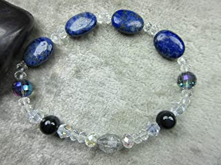 Genuine Blue Tigers Eye, Lapis Lazuli and Herkimer Diamond Quartz Healing Bracelet Intuition Bliss