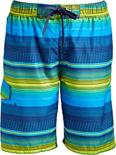 Kanu Surf Men's Quick Dry Striped Beach Board Short Swim Trunk, Sprint Navy, Large