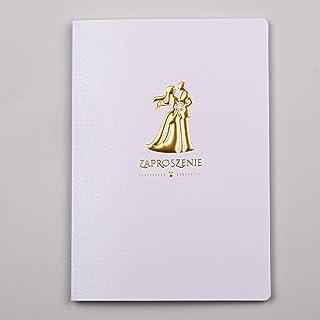 Konst NUVO WEDDING inbjudningskort – 20 st, 120 x 170 mm, med tryckta inre och kuvert för bröllop – guldfolie, broderad de...