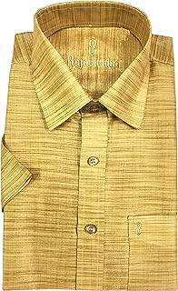 RajaVivaha Men's Art Silk Raw Checks Formal Shirt,Golden
