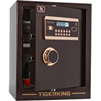 Tigerking Digital Security Solid Alloy Steel Construction Safe Box with 4 Live-Locking Bolts Password Plus Key Setting (1. 34 Cubic Brown)