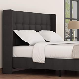 Amolife Queen Bed Frame Wingback Platform Bed/Mattress Foundation with Wood Slat Support/Queen Size Bed Frame Upholstered Square Stitch with Headboard, Dark Grey