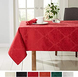 """Town & Country Living Lexington Damask Tablecloth-Traditional/Stain Resistant/Machine Washable/Cotton Polyester Blend, 70""""x144"""" Rectangle Red"""