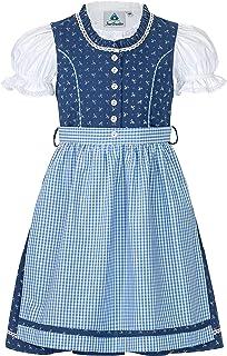 Trachterbahn Kinder Dirndl 3-TLG. Kleid Bluse Schürze für Mädchen Oktoberfest Kirchweih Hochzeit Sonntagausflug