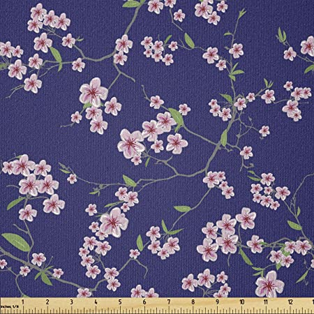 Ambesonne Japanese Fabric By The Yard Blooming Sakura Cherry Branches Chinese Oriental Kimono Pattern Stretch Knit Fabric For Clothing Sewing And Arts Crafts 3 Yards Blue Green