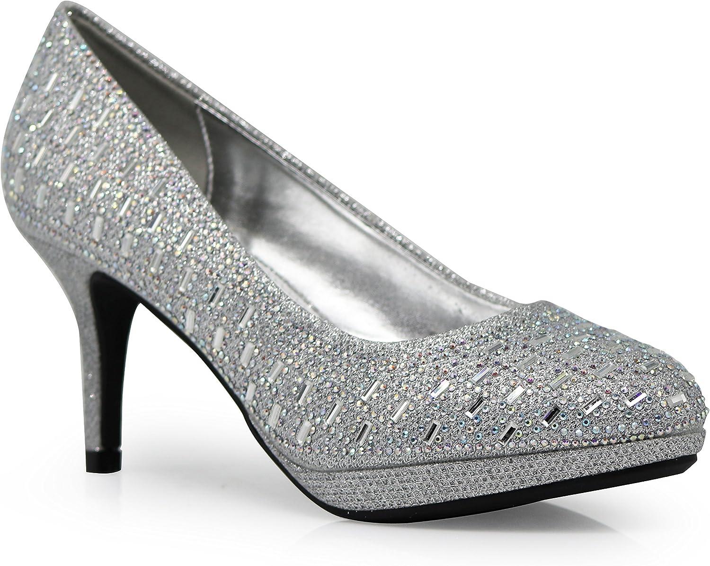 Enzo Romeo Unus Womens Low Platform Heels Comfort Pumps Patent Rhinestone