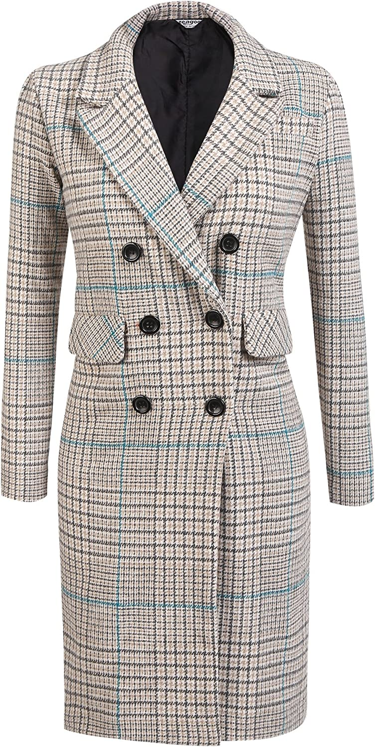 Zeagoo Women's Thick Double Breasted Plaid Checked Jacket Blazer Overcoat Maxi Long Trench Coat