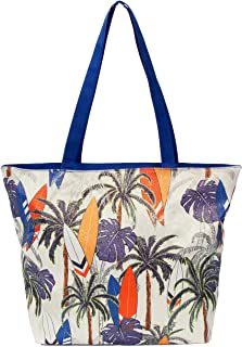 "Leisureland Glitter Tote Bag, Travel Tote Bag, Water Resistant Beach Bag (L17""xH13""xW4"", Glitter Palm Trees)"