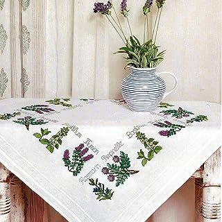 Kamaca Stickpackung Tischdecke KRÄUTER - Garten Kreuzstich vorgezeichnet aus Baumwolle Stickset mit Stickvorlage Mitteldecke 80x80 cm