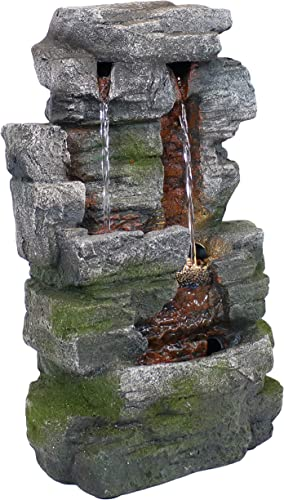 new arrival Sunnydaze 14-Inch sale Towering Cave Waterfall Indoor Tabletop Water Fountain with LED Light - Small Interior Water Feature for Home and Office outlet sale - Mini Decorative Fountain outlet sale