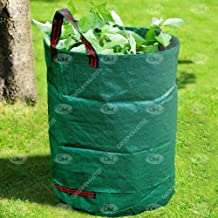 GroundMaster - Sacchi per rifiuti da giardino rotondi da 500 litri, robusti e rinforzati, con manici multipli