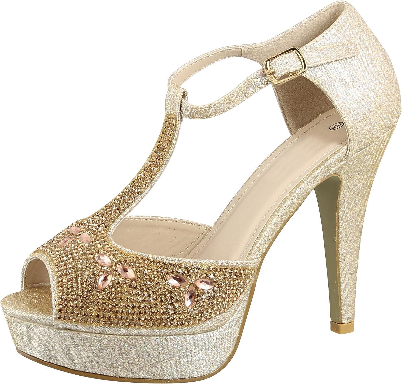Cambridge Select Women's Peep Toe T-Strap Crystal Rhinestone Chunky Platform High Heel Sandal