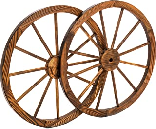 Best Choice Products 30-inch Set of 2 Decorative Wall Accent Old Western Wooden Garden Wagon Wheel w/Steel Rims, Stained Finish, Brown