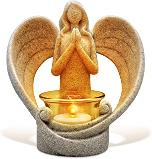 OakiWay Memorial Gifts - Tealight Candle Holder Sympathy Gift, with Flickering Led Candle, Angel Figurines in Memory of Lo...