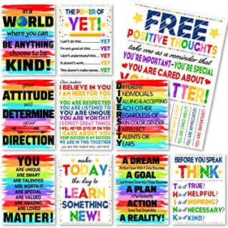 Whaline 10 Pack Motivational Classroom Posters, Rainbow Color Inspirational Quotes Posters, Waterproof Classroom Wall Arts...