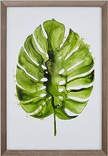 Modern Tropical Green Monstera Leaf Print I Framed Wall Art Décor - 14 x 20 Inch Frame, Wood-Tone