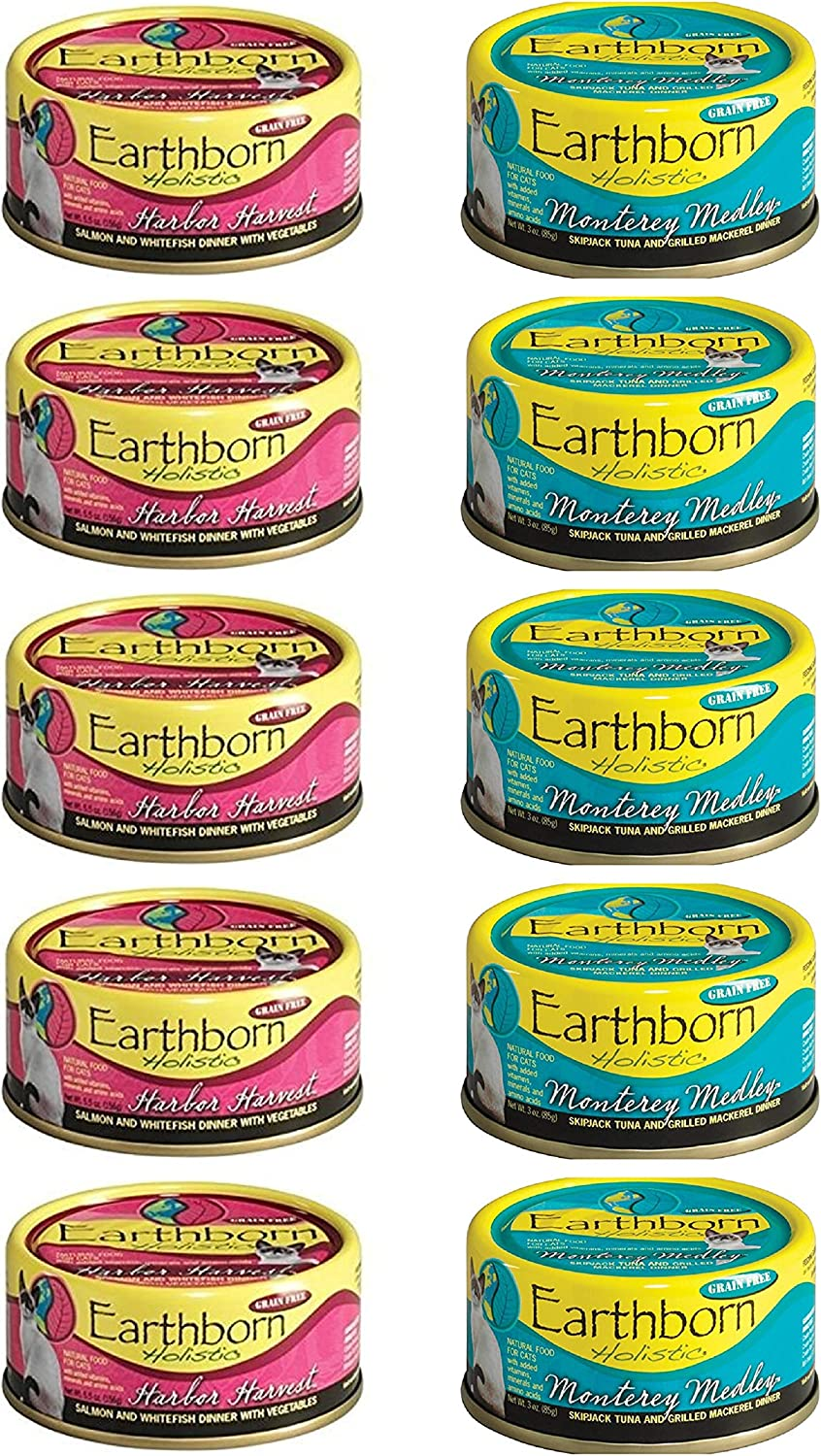 Earthborn Holistic Grain Free Cat Food in 2 Flavors: (5) Harbor Harvest and (5) Monterey Medley (10 Cans Total, 3 Ounces Each)