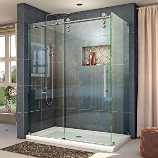 DreamLine Enigma-Z 34 1/2 in. D x 48 3/8 in. W x 76 in. H Fully Frameless Sliding Shower Enclosure in Brushed Stainless Steel, SHEN-6234480-07