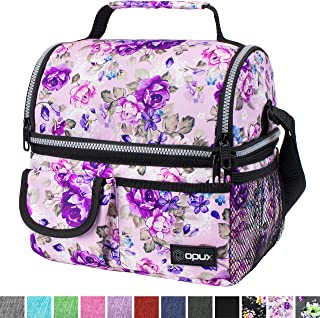 OPUX Insulated Dual Compartment Lunch Bag for Men, Women | Double Deck Reusable Lunch..